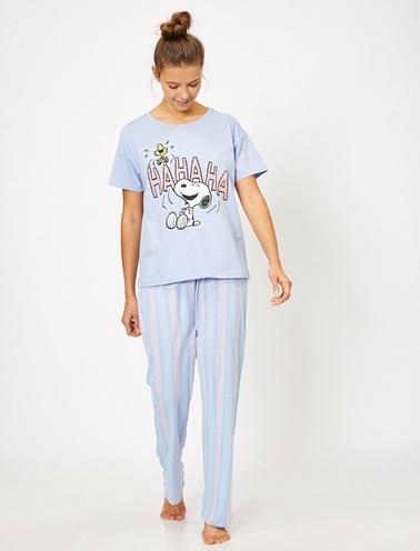Koton Yazili Baskili Pijama Seti Mavi
